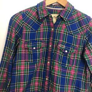 Hollister plaid long sleeves shirt snaps closing S